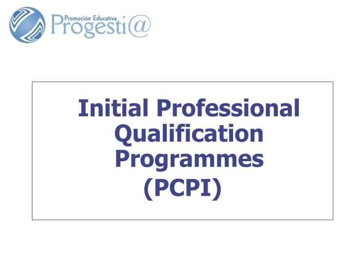 Initial Professional Qualification Programmes