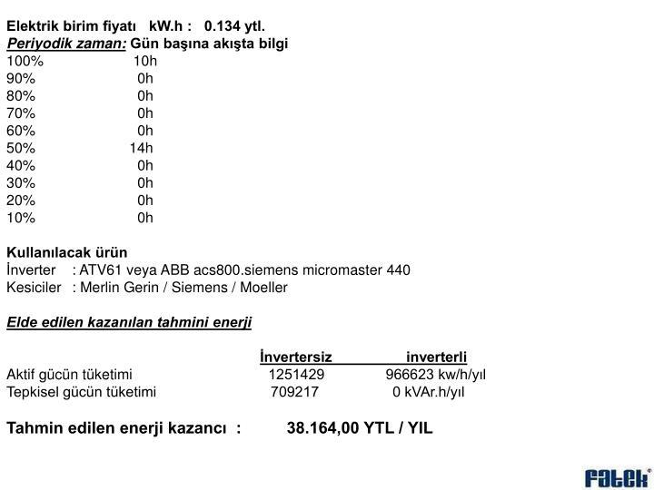 Elektrik birim fiyatı   kW.h :   0.134 ytl.