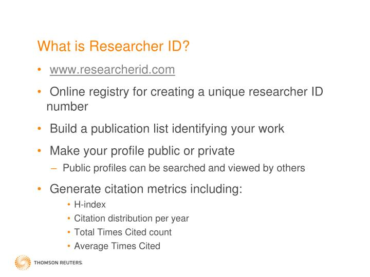 What is Researcher ID?