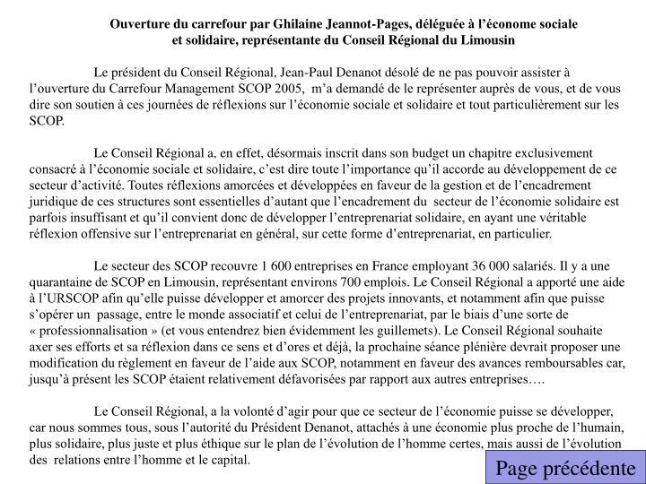 Ouverture du carrefour par Ghilaine Jeannot-Pages, déléguée à l'économe sociale