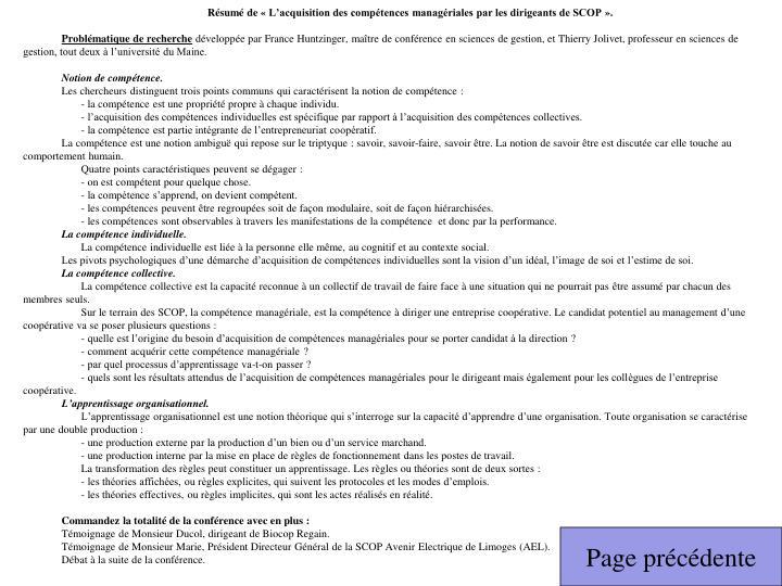 Résumé de «L'acquisition des compétences managériales par les dirigeants de SCOP».