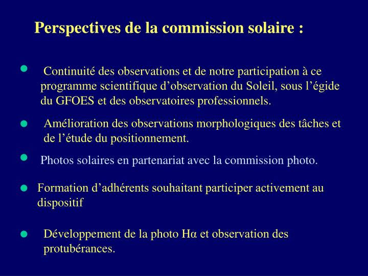 Perspectives de la commission solaire :
