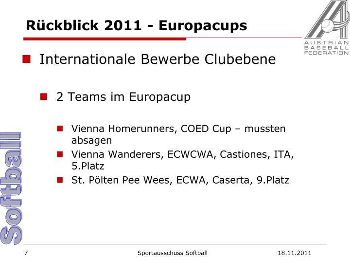 Rückblick 2011 - Europacups