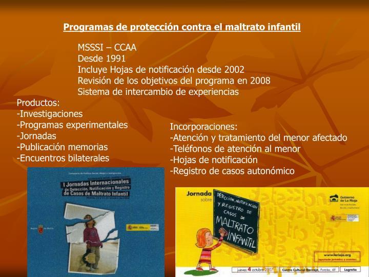 Programas de protección contra el maltrato infantil