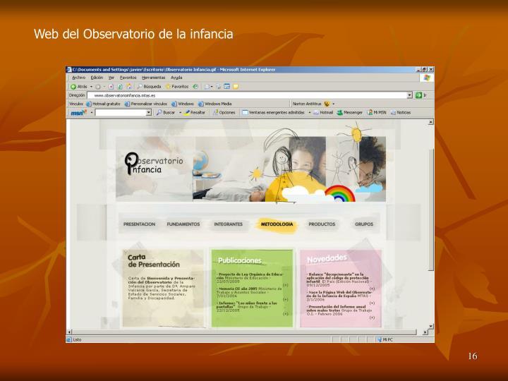 Web del Observatorio de la infancia