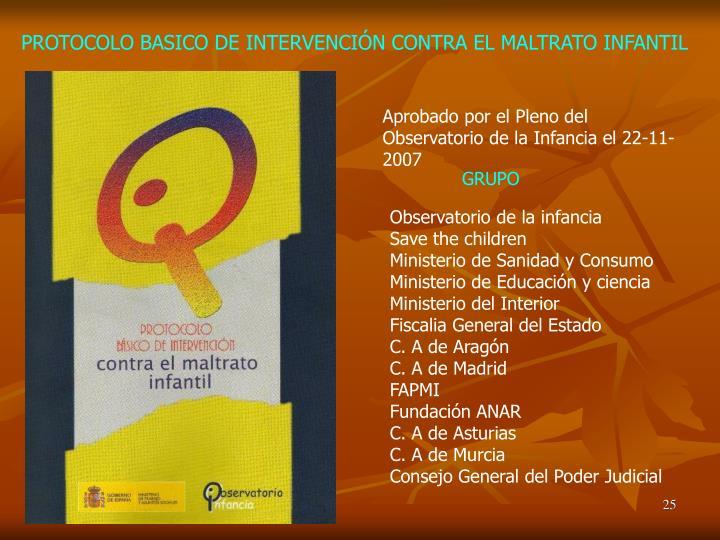 PROTOCOLO BASICO DE INTERVENCIÓN CONTRA EL MALTRATO INFANTIL