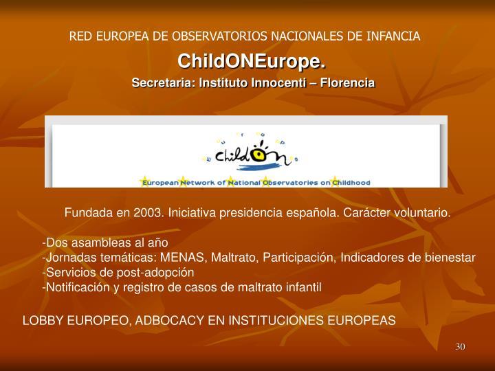 RED EUROPEA DE OBSERVATORIOS NACIONALES DE INFANCIA