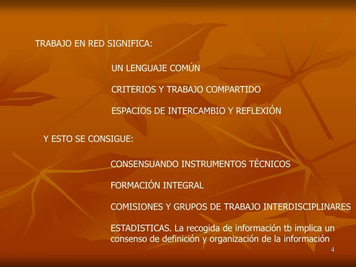 TRABAJO EN RED SIGNIFICA:
