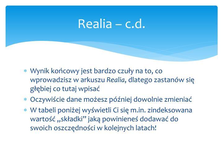 Realia – c.d.