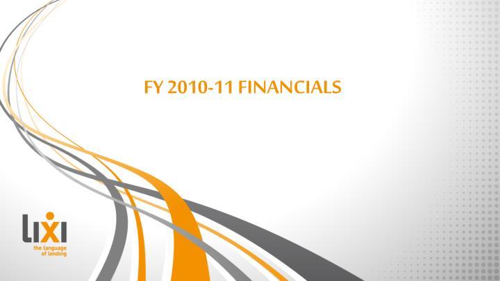 FY 2010-11 FINANCIALS