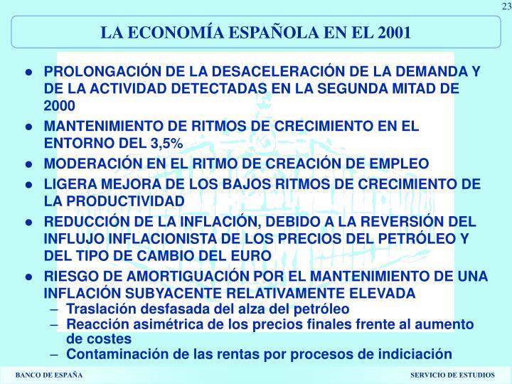 LA ECONOMÍA ESPAÑOLA EN EL 2001