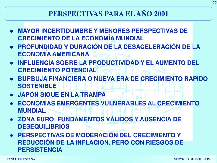 PERSPECTIVAS PARA EL AÑO 2001