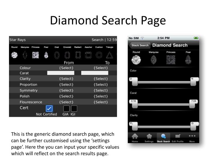 Diamond Search Page