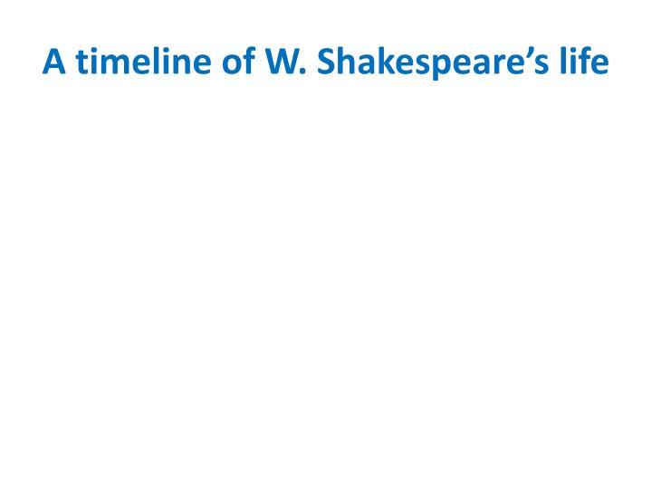 """timeline of shakespeare s life Sources from william shakespeare's lifetime spell his last name in more than 80  different ways, ranging from """"shappere"""" to """"shaxberd"""" in the."""