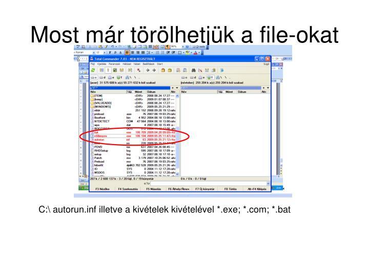 Most már törölhetjük a file-okat