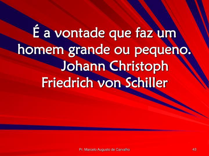 É a vontade que faz um homem grande ou pequeno.Johann Christoph Friedrich von Schiller