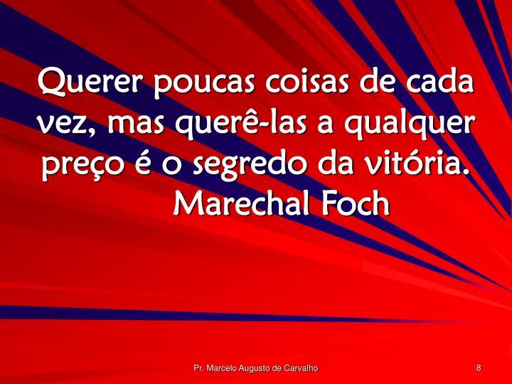 Querer poucas coisas de cada vez, mas querê-las a qualquer preço é o segredo da vitória.Marechal Foch
