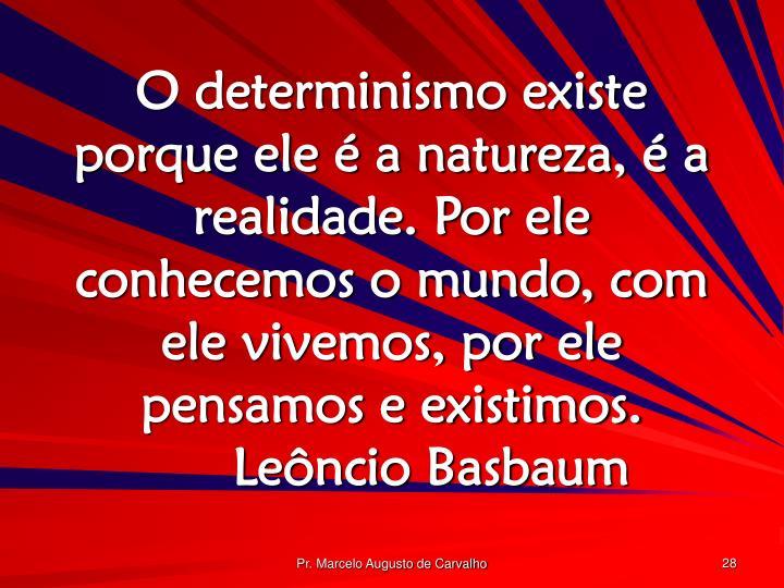 O determinismo existe porque ele é a natureza, é a realidade. Por ele conhecemos o mundo, com ele vivemos, por ele pensamos e existimos.Leôncio Basbaum