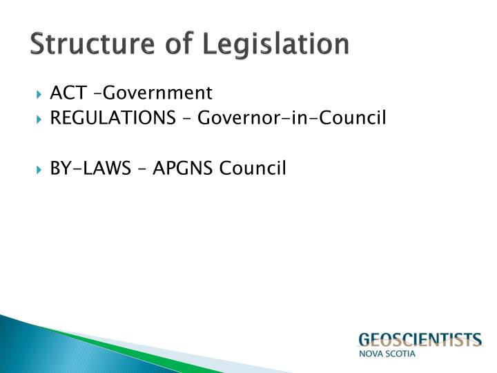 Structure of legislation