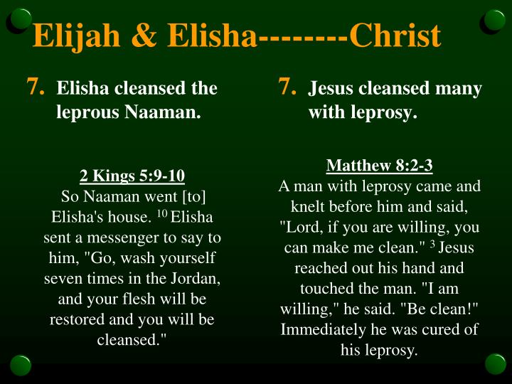 Elisha cleansed the leprous Naaman.