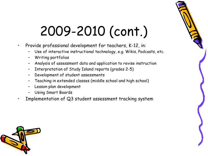 2009-2010 (cont.)