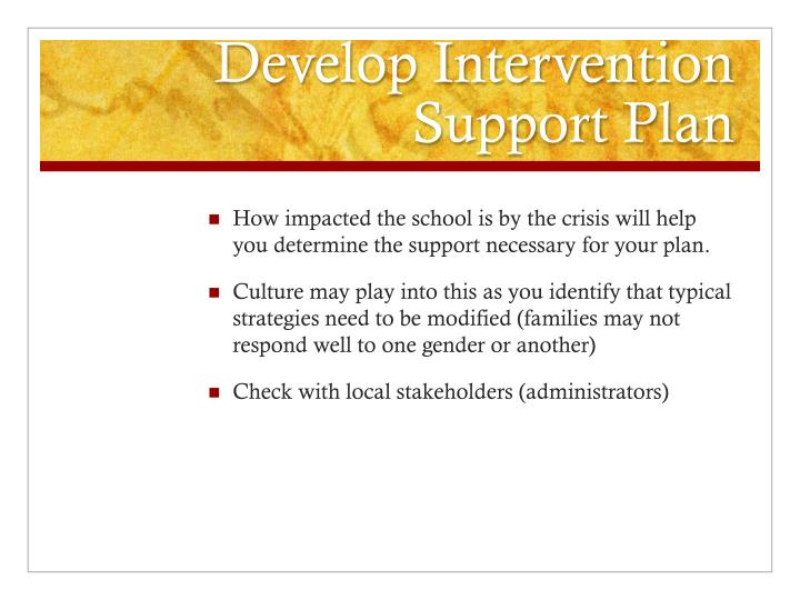 Develop Intervention Support Plan