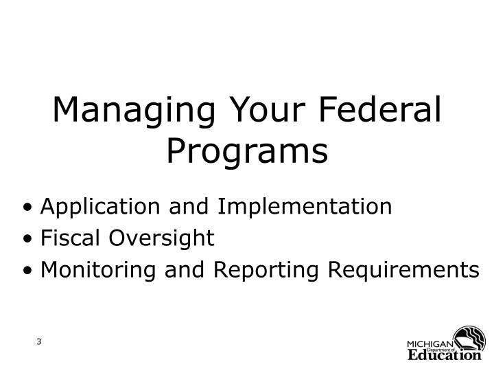 Managing your federal programs