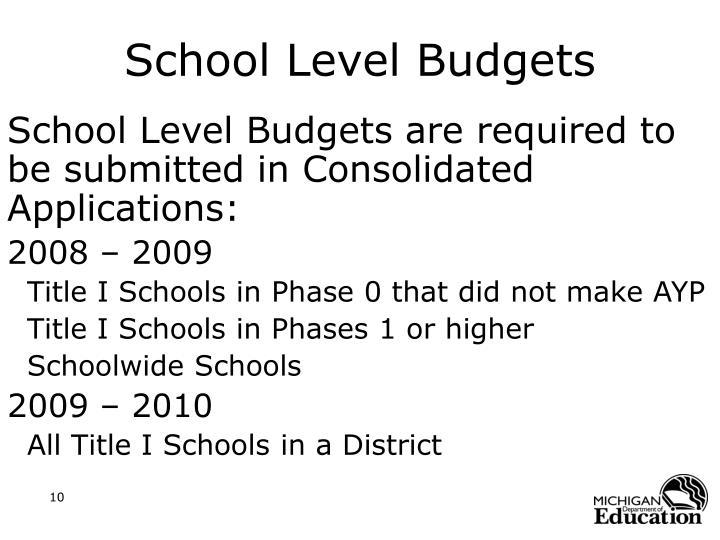 School Level Budgets