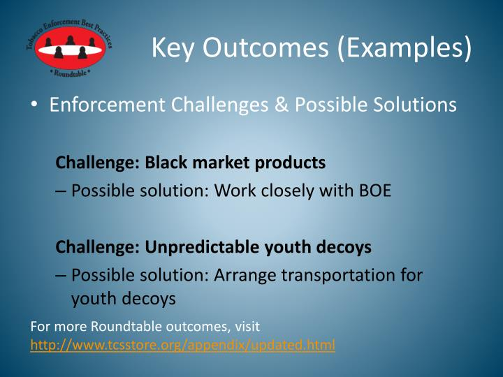 Key Outcomes (Examples)