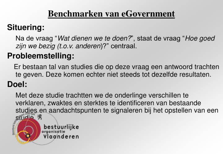 Benchmarken van egovernment