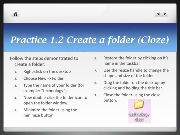 Practice 1.2 Create a folder (Cloze)