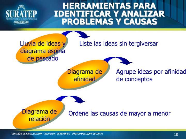 HERRAMIENTAS PARA IDENTIFICAR Y ANALIZAR PROBLEMAS Y CAUSAS