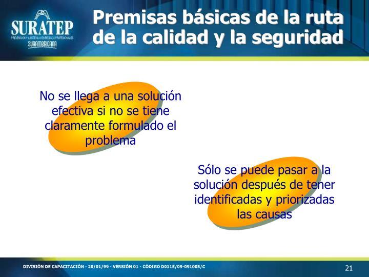 Premisas básicas de la ruta de la calidad y la seguridad