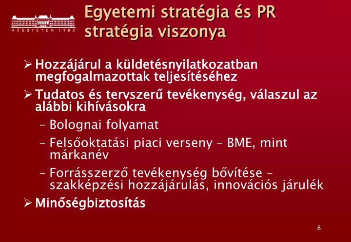 Egyetemi stratégia és PR stratégia viszonya