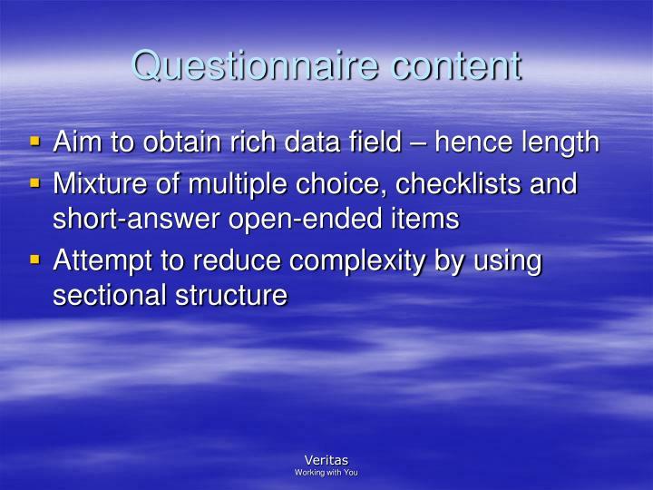 Questionnaire content