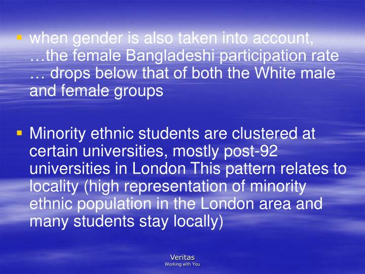 when gender is also taken into account,  the female Bangladeshi participation rate  drops below that of both the White male    and female groups