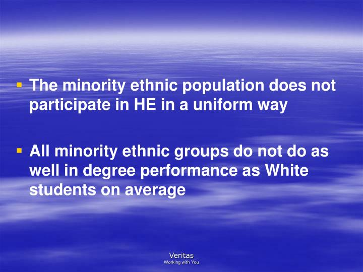 The minority ethnic population does not participate in HE in a uniform way