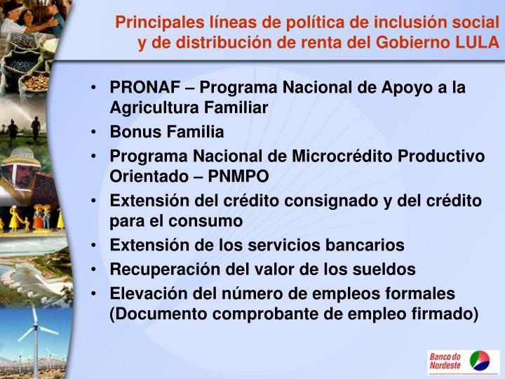 Principales líneas de política de inclusión social