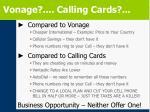 vonage calling cards