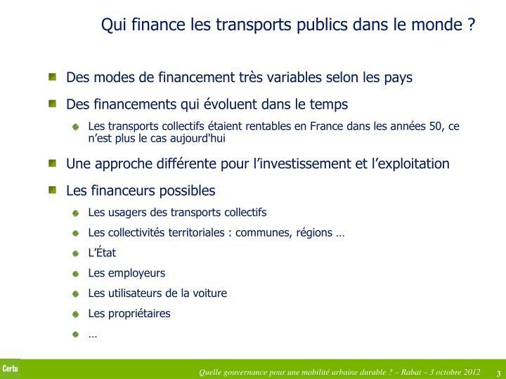 Qui finance les transports publics dans le monde ?
