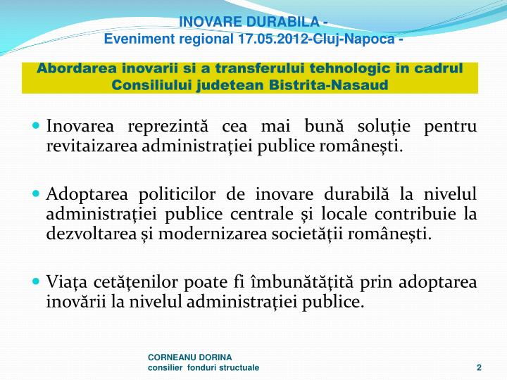 Abordarea inovarii si a transferului tehnologic in cadrul Consiliului judetean Bistrita-Nasaud