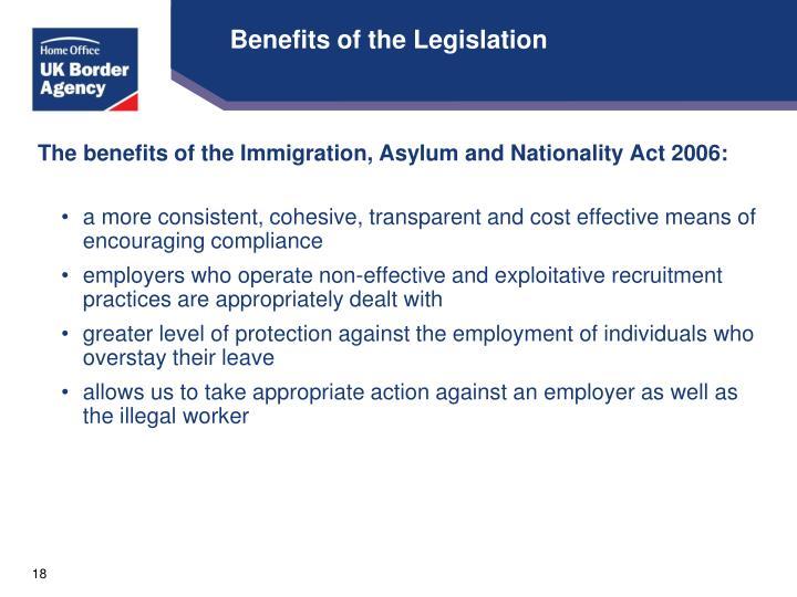 Benefits of the Legislation