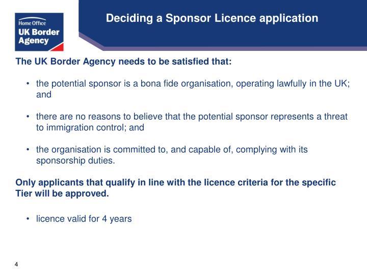 Deciding a Sponsor Licence application