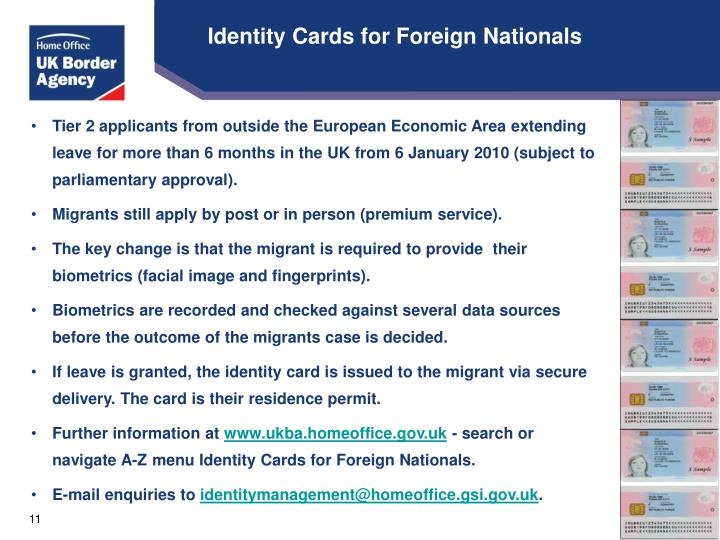 Identity Cards for Foreign Nationals