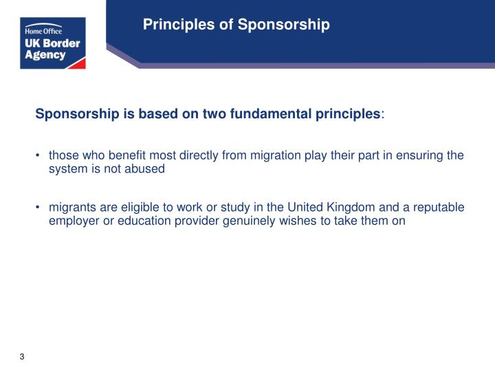 Principles of Sponsorship