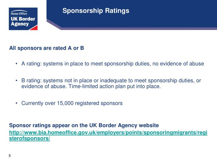 Sponsorship Ratings