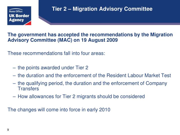 Tier 2 – Migration Advisory Committee
