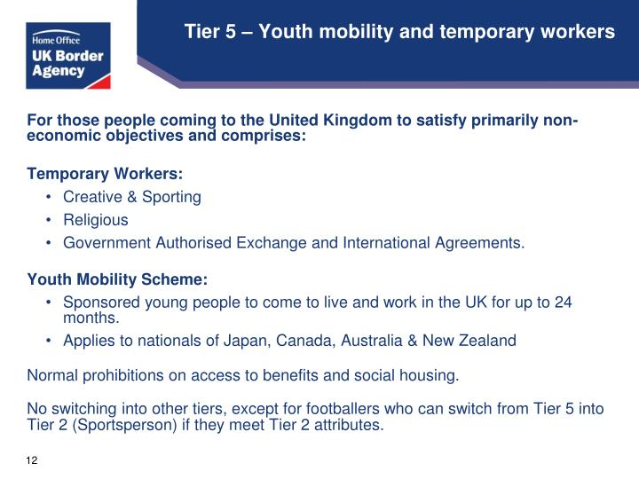 Tier 5 – Youth mobility and temporary workers