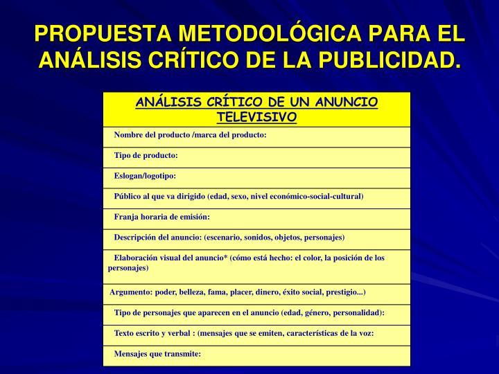 PROPUESTA METODOLÓGICA PARA EL ANÁLISIS CRÍTICO DE LA PUBLICIDAD.