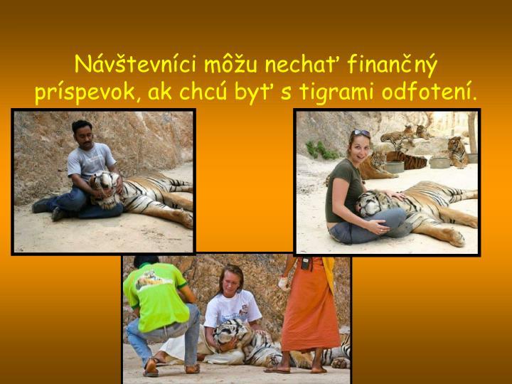 Návštevníci môžu nechať finančný príspevok, ak chcú byť s tigrami odfotení.